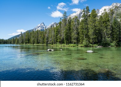 Crystal clear water of String Lake Teton National Park, Wyoming