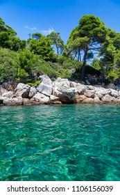 Crystal clear waters of the Adriatic Sea at Lokrum Island, Croatia.