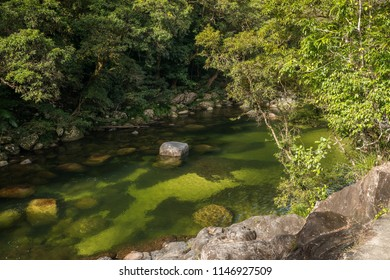 Crystal clear waters of Daintree River, Mossman Gorge in Daintree National Rainforest, Australia