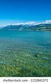 Crystal clear waters of the Upper Zurich Lake (Obersee), Switzerland