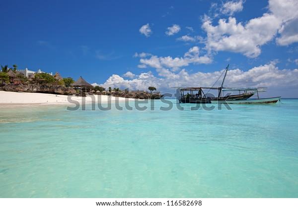 Crystal clear waters at Zanzibar beach in Tanzania