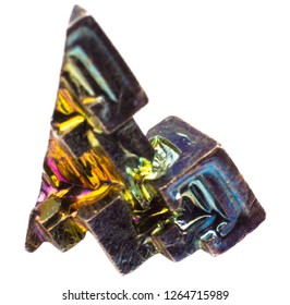 Crystal colorful artificially grown bismuth on white background