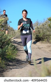 Crystal Cove, California/USA-April 16 2016:Runner in the Heroes 6k Trail race