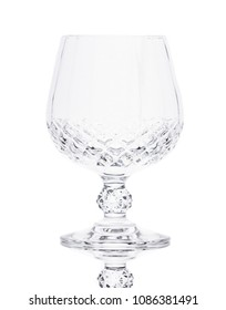 Crystal cut glass on the white background.