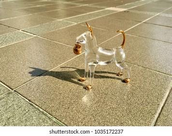 Crystal dog on floor