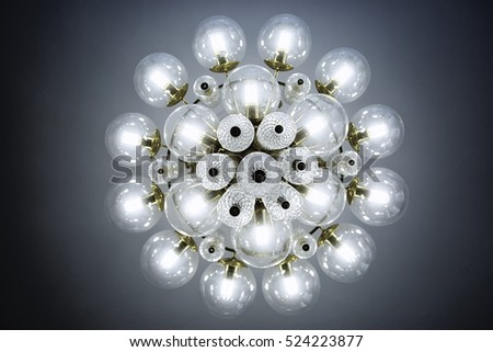 Crystal glass chandelier view from bottom