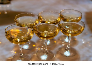 crystal glasses close-up with champagne on the wedding table. event concept