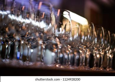 Crystal glasses for wine.