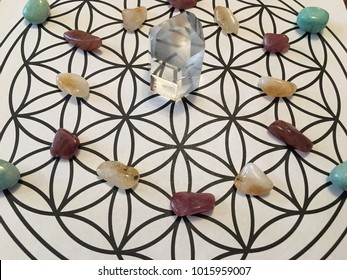crystal grid on flower of life
