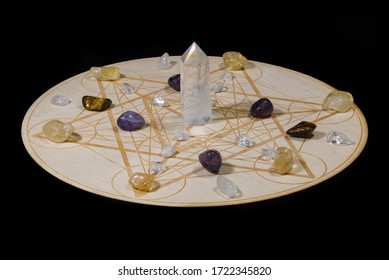 Crystal Grid with Quartz and Other Crystals on Metatron's Cube - Spirituality, Healing, Meditation, Occult, Ancient Mysteries