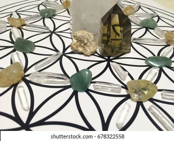 Crystal Grid for Wealth and Prosperity, contains Jade, Citrine, Pyrite and Clear Quartz