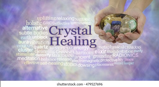 Crystal healing word cloud banner - female crystal therapist offering  a selection of crystals in a brass dish, surrounded by a relevant word cloud on an ethereal pastel colored background