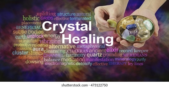 Crystal healing word cloud - female crystal therapist offering yellow stone from a selection of crystals in a brass dish, surrounded by a relevant word cloud on a vibrant multicolored background