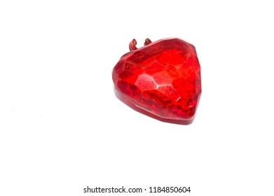 crystal heart in red color, isolated on white background