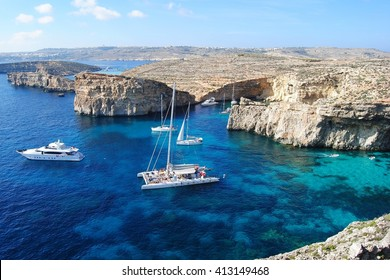 The Crystal Lagoon on Comino island in Malta.