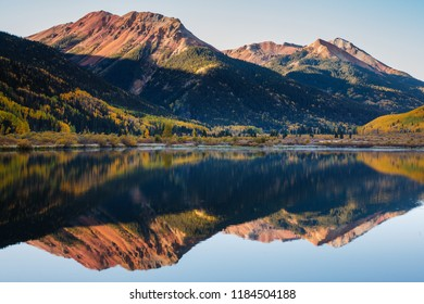 Crystal Lake in the San Juan Mountains. Autumn Scenery in the Beautiful Rocky Mountains of Colorado