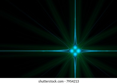 Crystal light blue and green star background over black