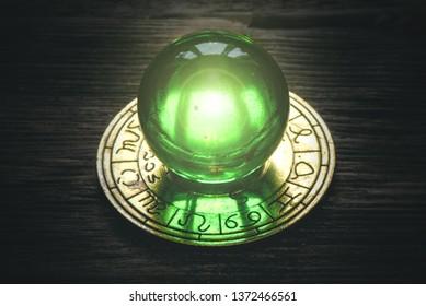 Crystal magic ball and zodiac wheel sign. Horoscope. Astrological forecast.