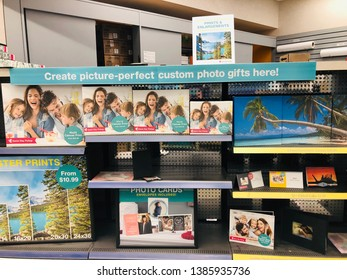 Crystal, MN - May 1, 2019: Interiour view of the Walgreens Photo Center, which processes digital prints and passport photos. Walgreens is the largest drug retailing chain in the USA