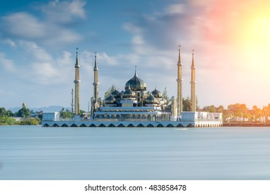 The crystal mosque in Kuala Terengganu, the beatiful mosque in Malaysia,the mosque with reflection ,the emerald mosque in Malaysia
