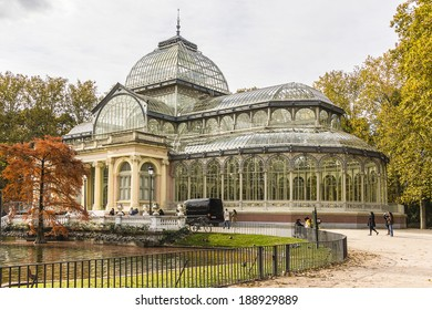 Crystal Palace (Palacio de cristal) in the Retiro Park in Madrid. Spain. It was built in 1887 to exhibit flora and fauna from the Philippines. The architect was Ricardo Velazquez Bosco.