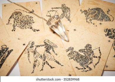 Crystal pendulum with zodiac card for clairvoyance