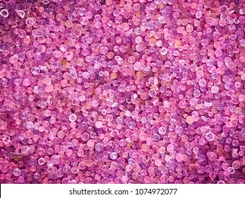 The crystal of pink silica gel expired and turn color from blue to pink or purple range, use for remove water or moisture, eliminate dehydrate from compounds use as a background pattern or texture.