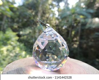 Crystal prism wood slice forest