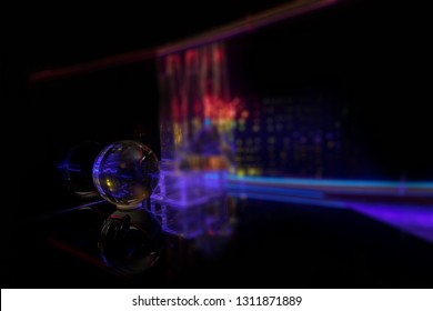crystal reflections and refractions sci fi background