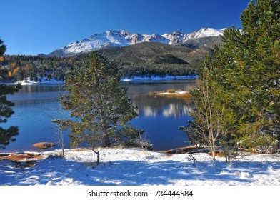 Crystal Reservoir after a snow with Pikes Peak