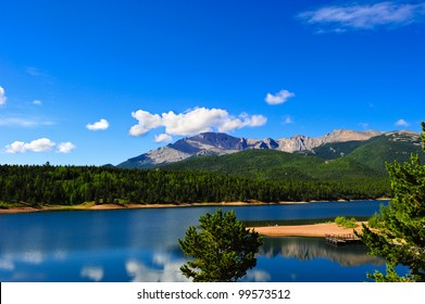 Crystal Reservoir near Pikes Peak on a summer day.