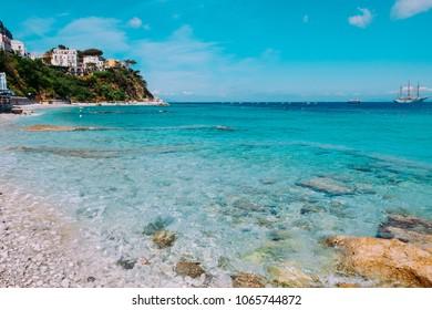 Crystal sea at Marina Grande Beach, Capri, Italy.