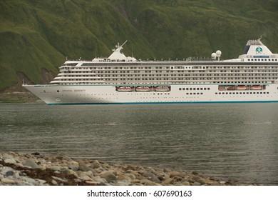 Crystal Serenity Departing  Dutch Harbor Alaska in August 2016 prior to Northwest Passage Cruise