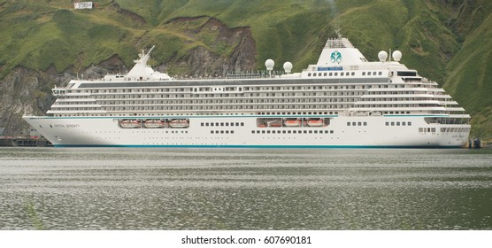 Crystal Serenity Docked at Dutch Harbor Alaska in August 2016 prior to Northwest Passage Cruise