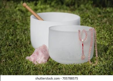 Crystal Singing Bowls for healing and meditation. Sound healing.