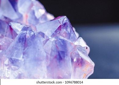 Crystal Stone macro mineral surface, purple rough amethyst quartz crystals