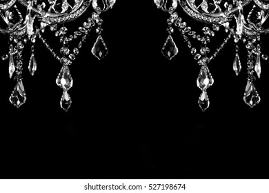 crystal strass lamp over black background, background for interior design, spase for you text
