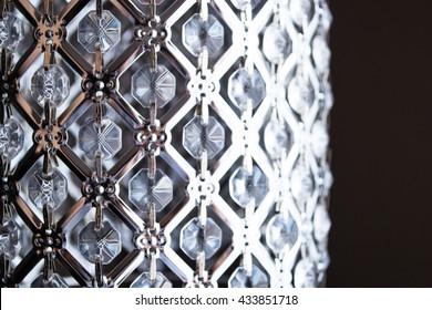 Crystal strass lamp white over black background luxury interior design