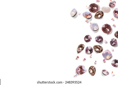 Crystal strasses on a white background. isolated