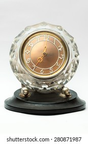 Crystal table clock on white background