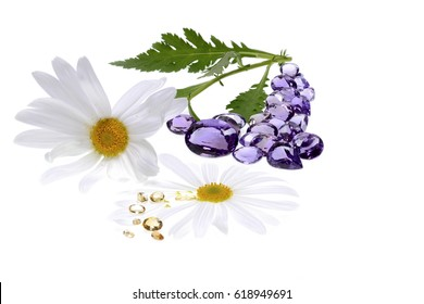 Crystal Therapy with precious stones and white background. Amethyst and yellow topaz. / Crystal Terapy