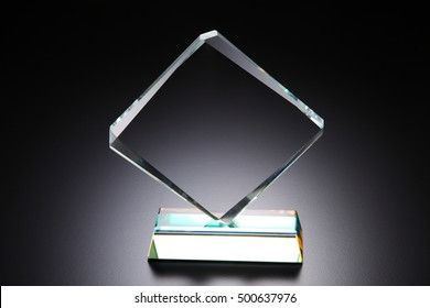 Crystal Trophy On The Black Background