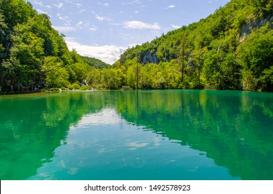 Crystal water of Plitvice Lakes. Landscapes and waterfalls.