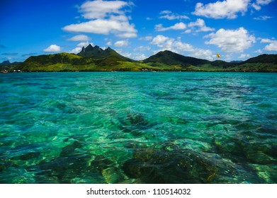Crystal water view with mountains