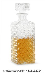 Crystal whisky decanter isolated on a white background