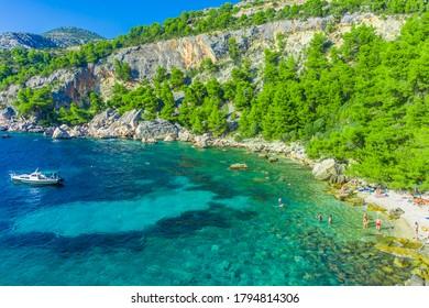 Crystalline water of Malo Zarace Beach, Hvar Island, Croatia - Shutterstock ID 1794814306