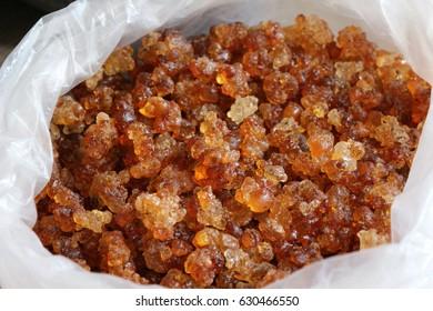 crystallised tree sap amber in bag at market in China