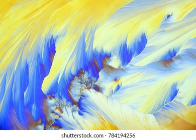 Crystals of a common painkiller Paracetamol.  Microscope image, photographed in  polarized light.