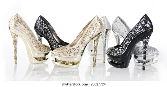 crystals encrusted shoes collection on white background