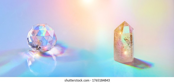 Crystals refracting light. stone quartz and glass prism on holographic background. relaxation, meditation, spiritual healing crystal practice. wiccan, modern magic, Feng Shui, Good energy concept